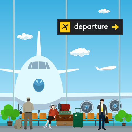 through travel: Airport , a Waiting Room with People, View on Airplane through the Window from a Waiting Room , Scoreboard Departures from Airport, Travel Concept, Flat Design, Vector Illustration