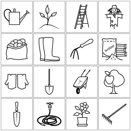 herramientas de trabajo: Conjunto de herramientas de jardín, iconos de líneas de jardín, herramientas agrícolas, Blanco y Negro Ilustración del vector