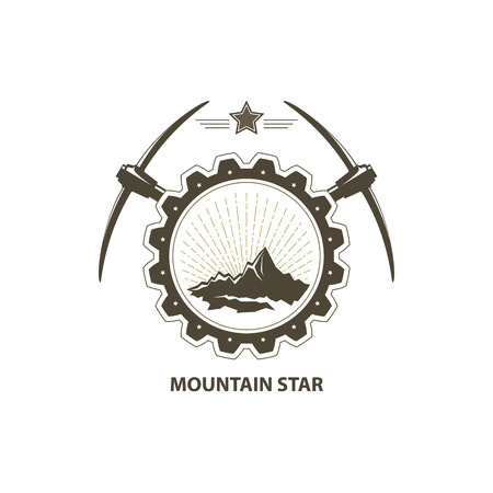 pickaxe: Mining Industry Emblem, Sunburst and the Mountains in Gear with Pickaxe and Star, Design Element, Vector Illustration Illustration