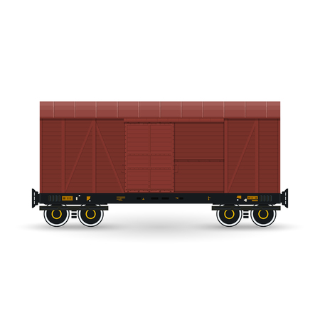 boxcar: Closed Wagon Isolated on White, Railway  Transport, Covered Freight Car for Transportation of Goods, Vector Illustration Illustration