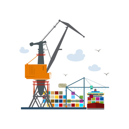 to unload: Cargo Seaport Isolated on White, Unloading Containers from a Cargo Ship in a Docks with Cargo Crane, Container Ship at the Dock, International Freight Transportation, Vector Illustration