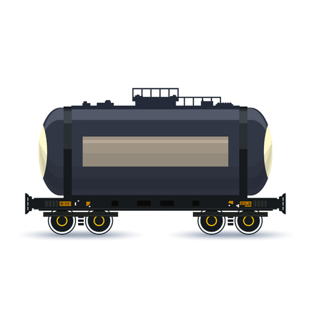 boxcar train: Tank ,Tank  on Railway Platform Isolated on White, Railway  Transport, Railway Car the Tank for Transportation of Liquid and Loose Freights , Vector Illustration