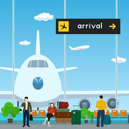 aerodrome: Airport , a Waiting Room with People, View on Airplane through the Window from a Waiting Room , Scoreboard Arrivals at Airport, Travel Concept, Flat Design, Vector Illustration