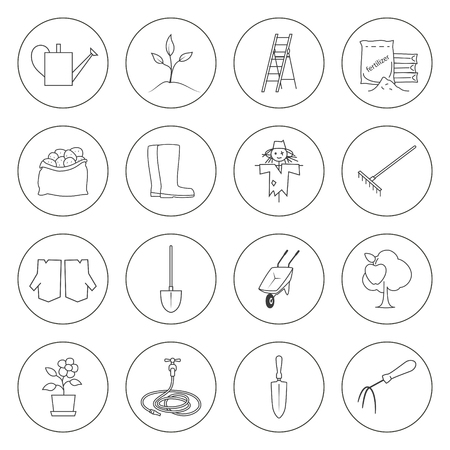 bagful: Set of Garden Tools, Round Thin Line Icons Gardening Equipment , Agricultural Tool , Black and White Vector Illustration Illustration