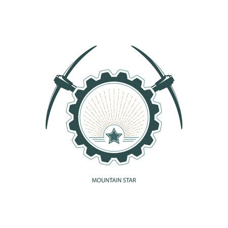 shaft: Mountain Star, Emblem of the Mining Industry, Star and Sunburst in Gear with Pickaxe, Design Element, Label and Badge Mine Shaft Illustration Illustration