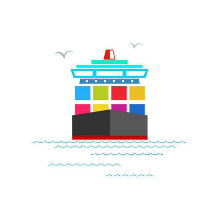 cargo vessel: Front View of the Cargo Container Ship Isolated on White, Industrial Marine Vessel with Containers on Board, International Freight Transportation Illustration