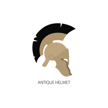 horsehair: Antiques Roman or Greek Helmet Isolated on White, Helmet with a Black Crest of Feathers or Horsehair with Slits for the Eyes and Mouth Illustration