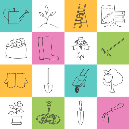 gardening tools: Set of Garden Tools,Colorful Line Icons Gardening Equipment , Agricultural Tool Illustration