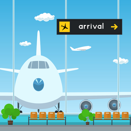 aerodrome: Waiting Room in Airport , View on Airplane through the Window from a Waiting Room , Scoreboard Arrivals at Airport, Travel Concept, Flat Design Illustration
