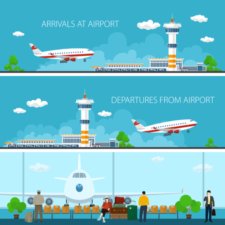 INTERNATIONAL BUSINESS: Aeropuerto Banderas horizontales, las llegadas en el aeropuerto, salidas desde el aeropuerto, una sala de espera con la gente, Concepto de viajes, Piso Diseño Ilustración