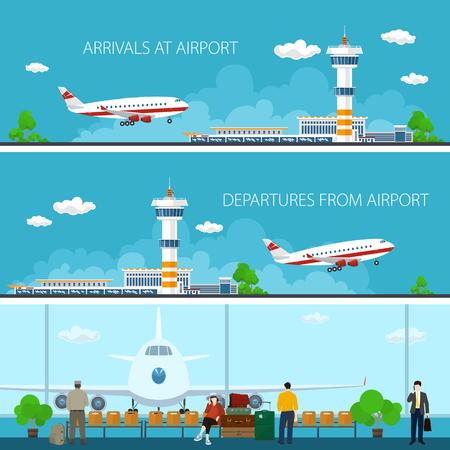 Flughafen horizontale Banner, Ankunft auf dem Flughafen, Abflug vom Flughafen, einem Warteraum mit Menschen, Reise-Konzept, flache Design Illustration Vektorgrafik