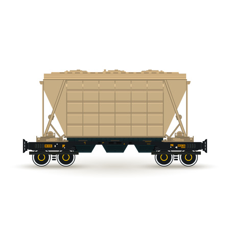 boxcar: Hopper ,Hopper  on Railway Platform Isolated on White, Railway  Transport, Hopper Car  for Transportation  Freights Illustration