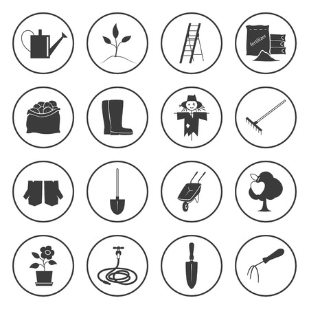 gardening tools: Set of Garden Tools, Round Icons Gardening Equipment , Silhouette Agricultural Tool Illustration Illustration
