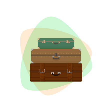 luggage bag: Three Different Retro Colored Suitcases Isolated , a Luggage Bag for Traveling, Travel Concept Banner Illustration