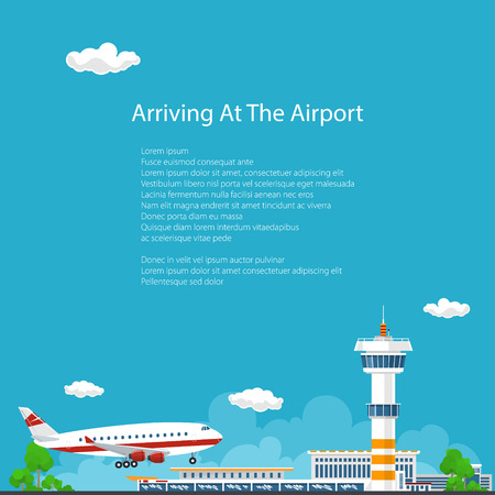 Arrivals at Airport Background , Control Tower and Airplane , Travel and Tourism Concept , Air Travel and Transportation Illustration