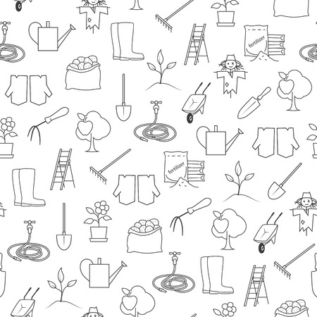 agricultural equipment: Seamless Pattern Gardening Equipment , Line Icons Agricultural Tool ,Garden Tools on White Background, Black and White Illustration