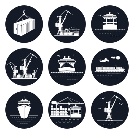 loading dock: Set of Round Cargo Icons, Dry Cargo Ship and Container Ship, Unloading Containers from a Cargo Ship in a Docks with Cargo Crane, Container , International Freight Transportation Illustration