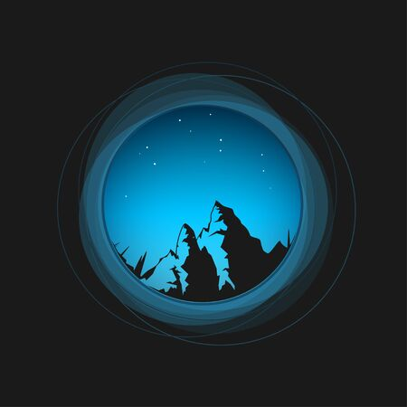 eyepiece: Silhouette of the mountains in a circle, a view through the eyepiece at the night sky and the mountains