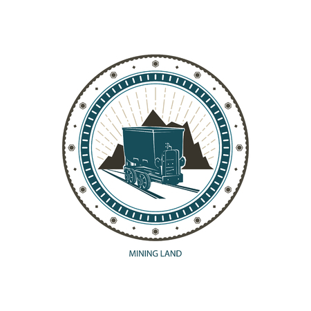 shaft: Mining Land Design Element, Coal Mine Trolley against Mountains and Sunburst, Label and Badge Mine Shaft,Emblem of the Mining Industry, Vector Illustration