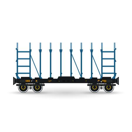 boxcar: Railway Platform Isolated on White, Railway  Transport, Platform for Transportation of Bulk Cargo and Long Cargo and for Timber Transportation , Vector Illustration