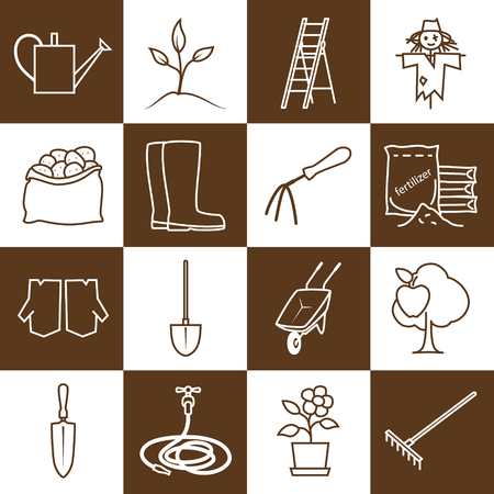 bagful: Set of Garden Tools, Brown Line Icons Gardening Equipment , Agricultural Tool , Vector Illustration