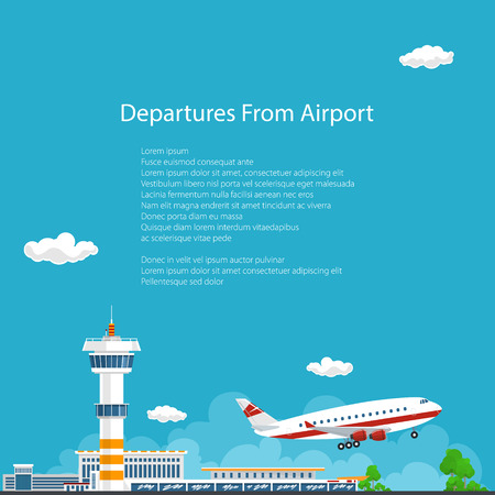 air freight: Airplane Takes Off from the Airport , Airport Background, Control Tower and Airplane , Travel and Tourism Concept , Air Travel and Transportation, Vector Illustration