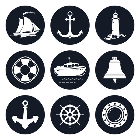 nautical vessel: Set of Round Marine Icons , Sailing Vessel and Anchor, Ship Wheel and Lifebuoy , Lifeboat and Porthole, Ship Bell and Lighthouse, Nautical Symbol, Ship Equipment, Vector Illustration