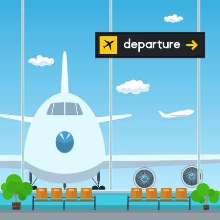 through travel: Waiting Room in Airport , View on Airplane through the Window from a Waiting Room , Scoreboard Departures from Airport, Travel Concept, Flat Design, Vector Illustration