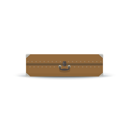 luggage bag: Retro Sand Color Suitcase Isolated on White, a Luggage Bag for Traveling, Vintage Travel Bag, Vector Illustration