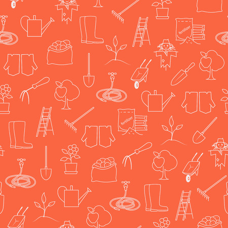 bagful: Seamless Pattern Gardening Equipment , Line Icons Agricultural Tool ,Garden Tools on Orange Background, Vector Illustration