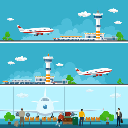aerodrome: Airport Horizontal Banners, Arrivals at Airport, Departures from Airport, People with Luggage in the Waiting Room, Travel Concept, Flat Design, Vector Illustration