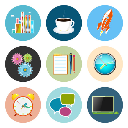 long hours: Set of Business Icons, Office Work, Team Work, Long Hours in the Office, Presentation and Discussion, Vector Illustration