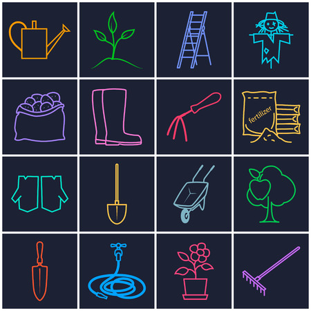bagful: Set of Garden Tools, Line Icons Gardening Equipment , Agricultural Tool , Brightly Multicolored Icons on a Dark Background, Vector Illustration