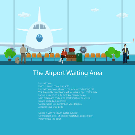 through travel: The Airport Waiting Area with People, View on Airplane through the Window from a Waiting Room , Travel and Tourism Concept, Flat Design, Vector Illustration