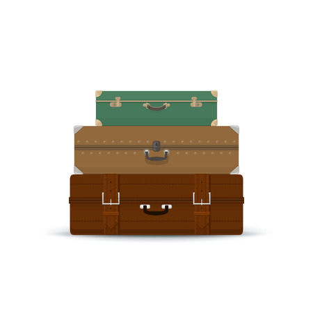 luggage bag: Three Different Retro Colored Suitcases Isolated on White , a Luggage Bag for Traveling, Travel and Tourism Concept , Vector Illustration
