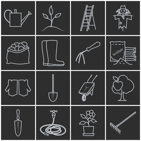 bagful: Set of Garden Tools, Line Icons Gardening Equipment , Agricultural Tool , Grey Icons on a Dark Background, Vector Illustration