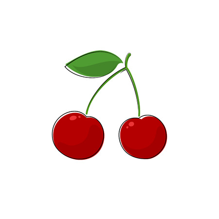 wild berry: Red Berry Cherry , Fruit Cherries Isolated on White, Prunus Avium, Wild Cherry, Sweet Cherry, Vector Illustration Illustration