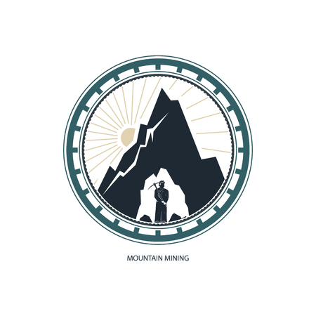 Mountain Mining Design Element, Miner against Mountains,Emblem of the Mining Industry, Label and Badge Mine Shaft, Vector Illustration Çizim