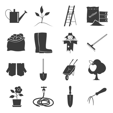bagful: Set of Garden Tools, Icons Gardening Equipment , Silhouette Agricultural Tool , Vector Illustration Illustration