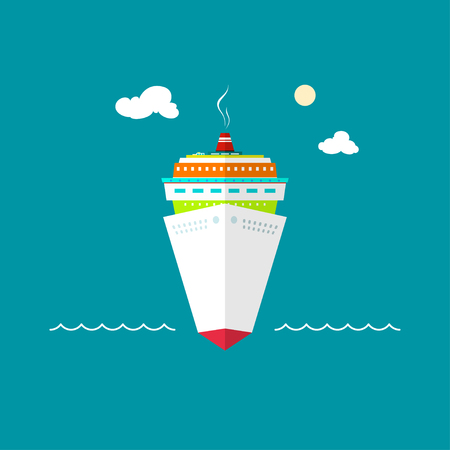 passenger ship: Cruise ship, a front view of the passenger ship, liner at sea or in the ocean on a sunny day Stock Photo