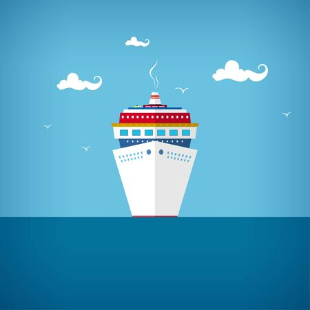 passenger ship: Cruise ship, a front view of the passenger ship, liner at sea or in the ocean in a sunny day