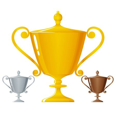 bronzed: Cups of winners, gold trophy cup, silver trophy cup and bronzed trophy cup on white background