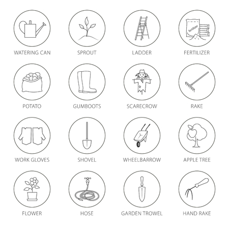 gardening  equipment: Set of Garden Tools, Round Thin Line Icons Gardening Equipment and Name , Agricultural Tool , Black and White Vector Illustration