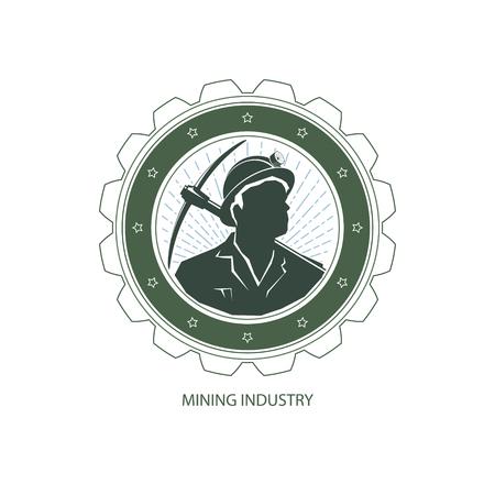 Mijnbouw Design Element, Miner Holding een Pikhouweel op een Achtergrond van de Zonnestraal, Label en het Kenteken van Mine Shaft, Vector Illustratie