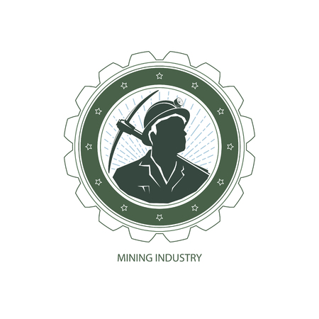 Mining Industry Design Element, Miner Holding a Pickax on a Background of the Sunburst, Label and Badge Mine Shaft, Vector Illustration
