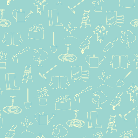 bagful: Seamless Pattern Gardening Equipment , Line Icons Agricultural Tool ,Garden Tools on Green Background, Vector Illustration