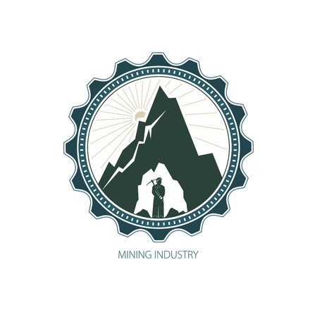 iron ore: icon Design Element, Miner against Mountains,Emblem of the Mining Industry, Label and Badge Mine Shaft, Vector Illustration