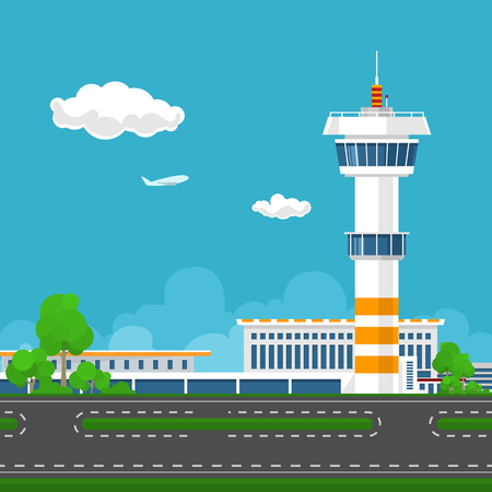Airport Terminal, Runway at the Airport with Control Tower ,Travel and Tourism Concept ,Vector Illustration Stock Illustratie