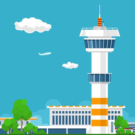 Flughafen-Terminal, Flughafen mit Tower, Reise und Tourismus-Konzept, Vektor-Illustration
