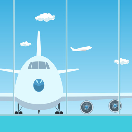through travel: View on Airplane through the Window from a Waiting Room , Travel Concept, Flat Design, Vector Illustration Illustration